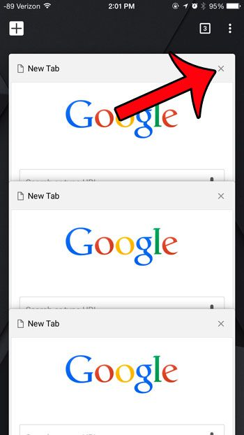 tap the x on a tab to close it