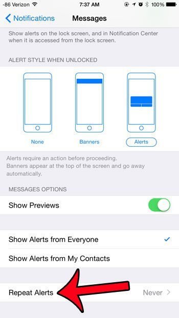 select the repeat alerts option