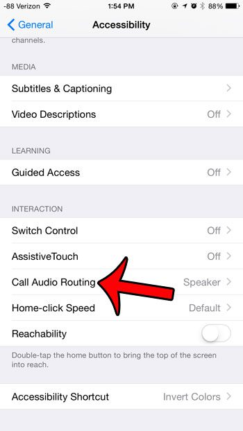 select the call audio routing option