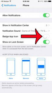 turn off the badge app icon