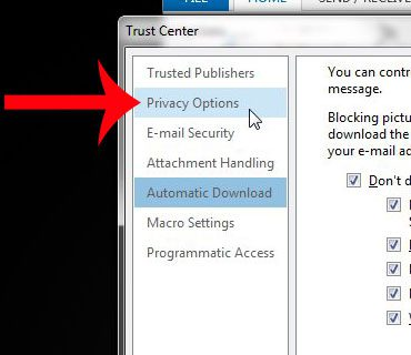 select privacy options