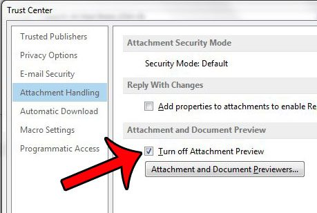 turn off attachment previewer