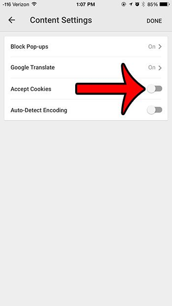 turn off the accept cookies option