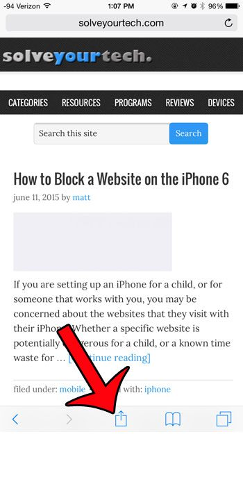 tap the share icon
