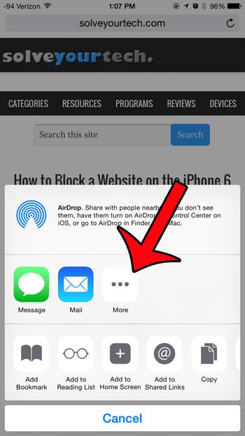 select the More option