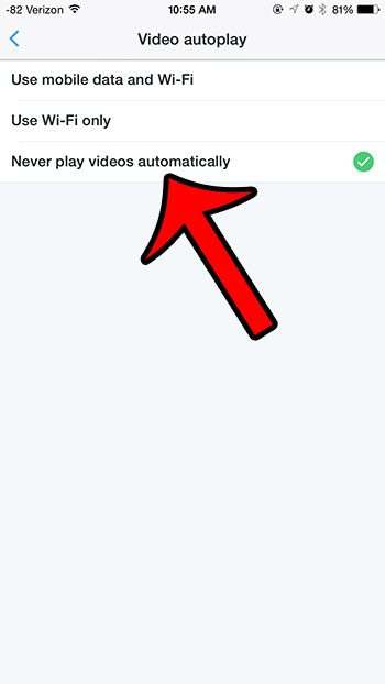 select the never play videos automatically option
