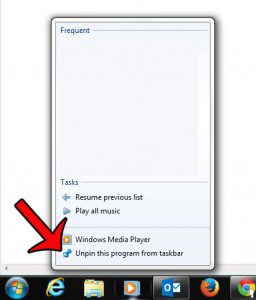 unpin program from taskbar