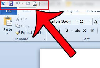 the quick access toolbar in word 2010