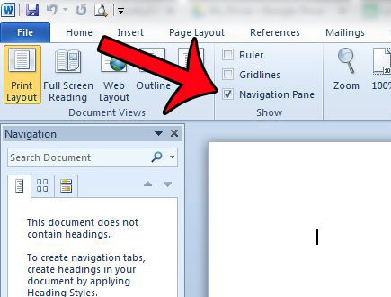How to Show the Navigation Pane in Word 2010 - Solve Your Tech