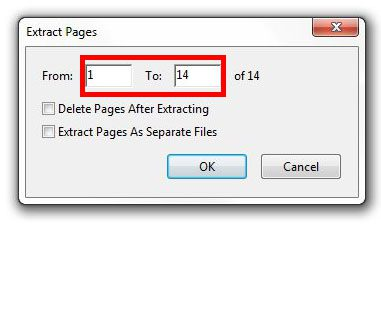 enter the range of pages to extract