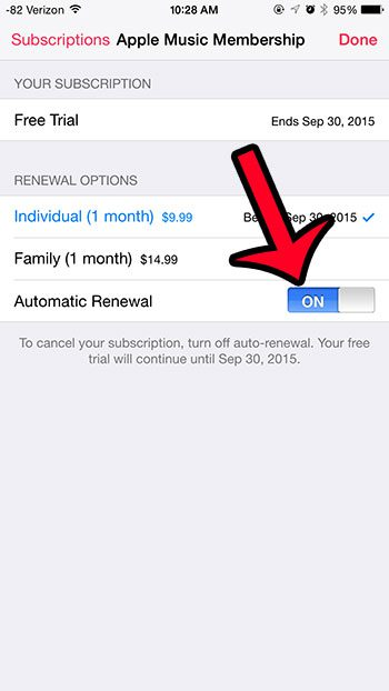 tap the automatic renewal button