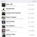 apple music storage usage
