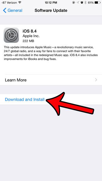 download and install the 8.4 update