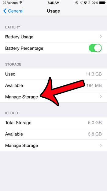 tap the manage storage button