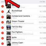 tap the red circle next to all songs