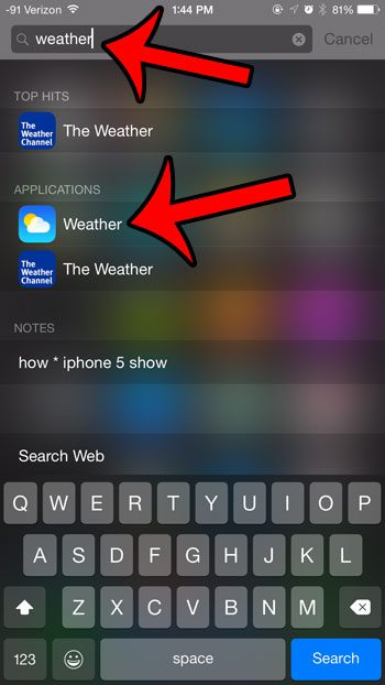 select the weather app
