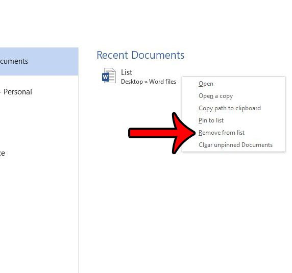remove document from recent documents list