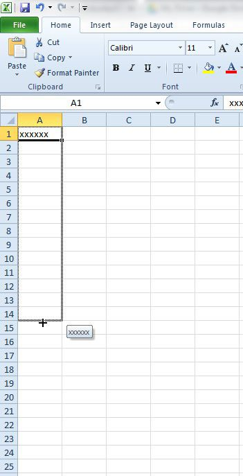drag to fill a column or row
