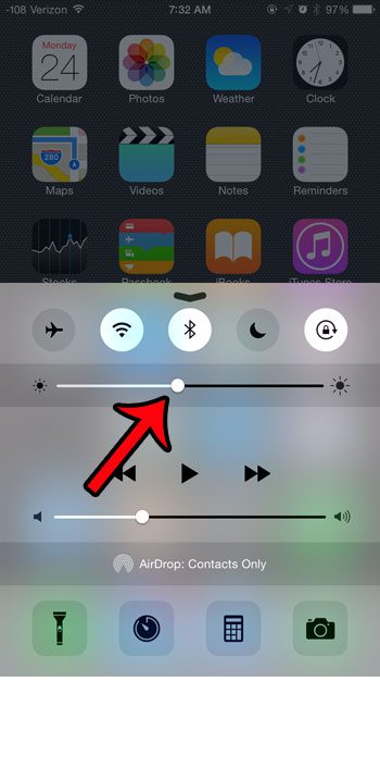 adjust brightness level on control center