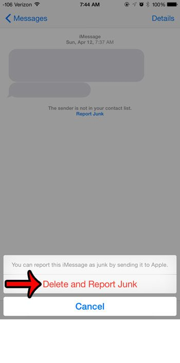 delete and report junk imessage