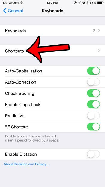 select the shortcuts option