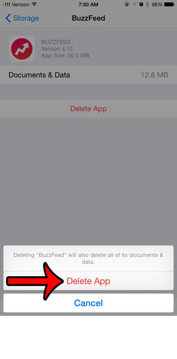 confirm the app deletion