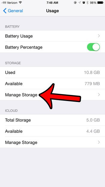 select the manage storage option