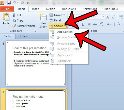 How To Add A New Section In Powerpoint 2010