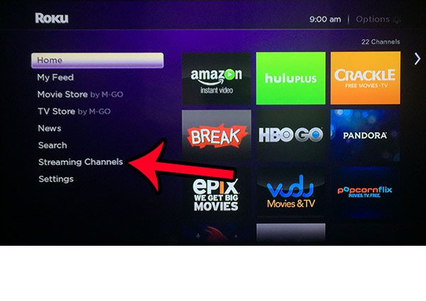 select the streaming channels option