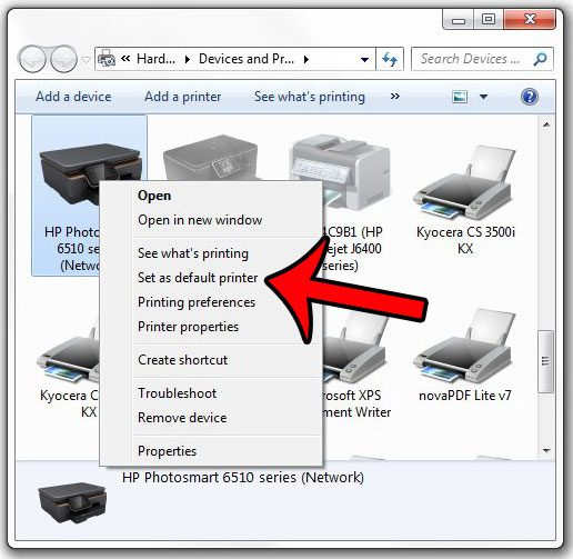 select a new default printer