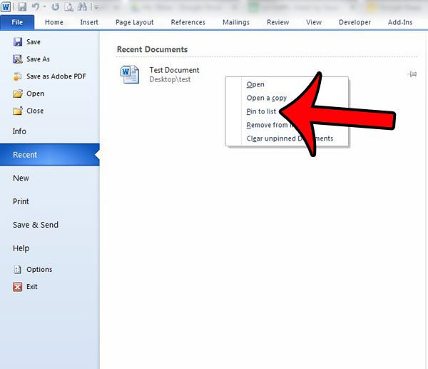 right-click the document, then click pin to this list