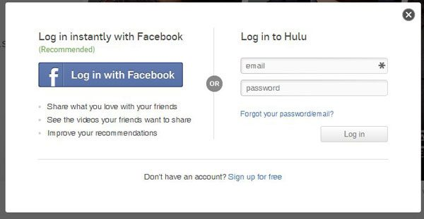 enter your hulu credentials