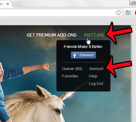 hover over your name, then click the acocunt option