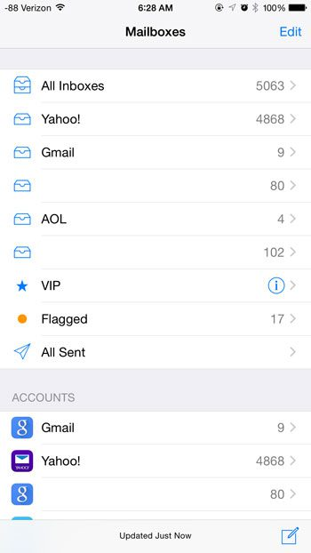 all sent folder on the mailboxes menu