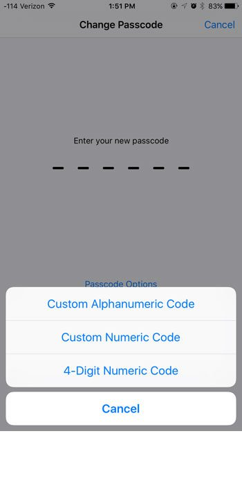select type of passcode