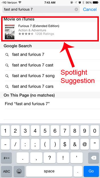 spotlight suggestion example