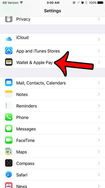 select the wallet & apple pay option