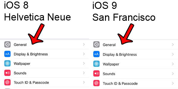 comparison of ios fonts