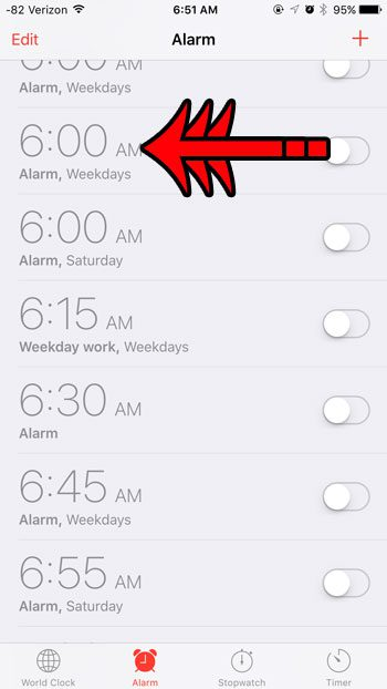 swipe on the alarm to delete