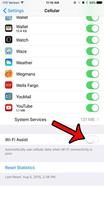 turn off the wi-fi assist option
