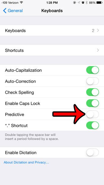 turn off the predictive option on keyboard