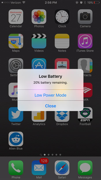 iphone low power mode pop up