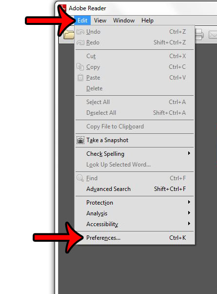 click edit, then click preferences