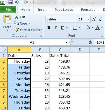 excel 2010 dates as weekdays