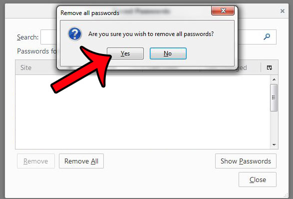 click the yes button to confirm that you want to remove the passwords