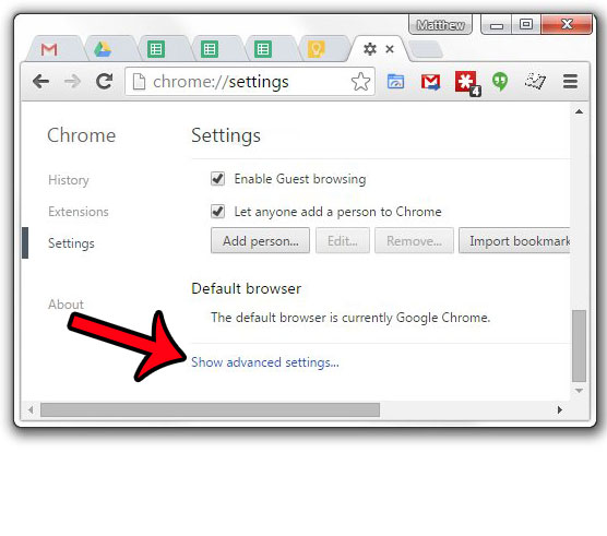 click show advanced settings in google chrome