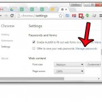 click manage password link in google chrome settings menu