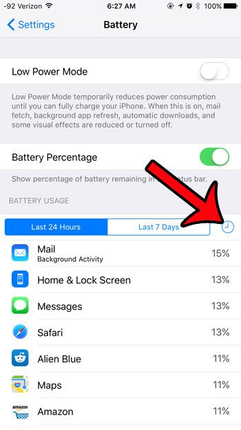 tap the clock in the battery usage section