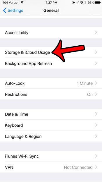 open the storage and icloud usage menu