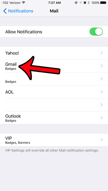 select an email account